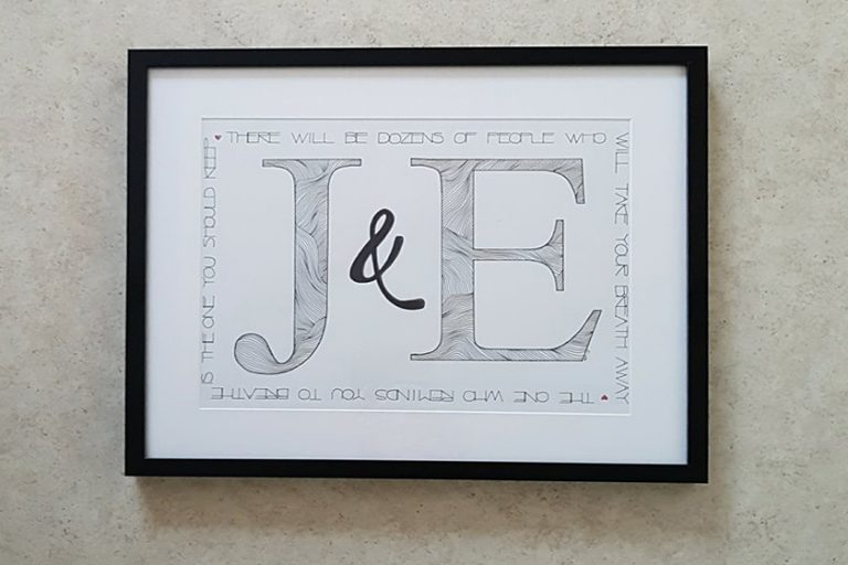 Monogramtavla J&E
